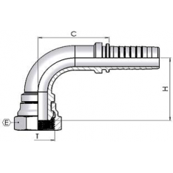 "1/8"" BSP Female Swept 90 x 1/4"" Hose"