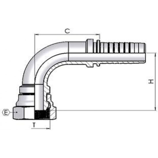 "3/4"" BSP Female Swept 90 x 1/2"" Hose"