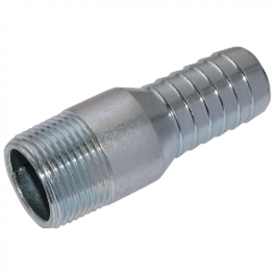 "Steel Plated 3/4"" BSPT Male x 3/4"" Hose Tail"
