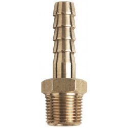 "Brass Hose Tail 1/4"" BSPT Male x 1/2"" Hose"