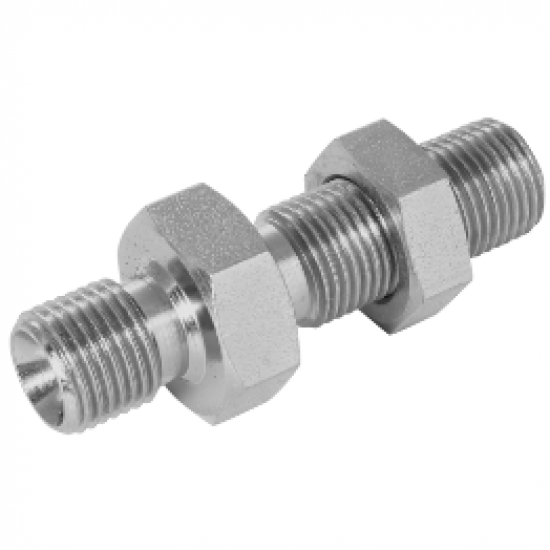 """1/4"""" BSPP x 1/4"""" BSPP Equal Male/Male Stainless Steel Bulkhead"""